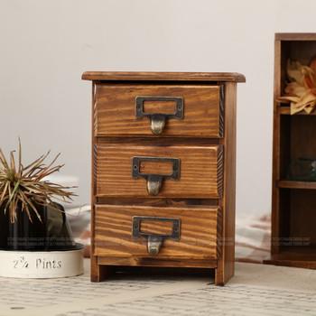 Zakka retro solid wood finishing desktop storage cabinet storage cabinet small drawer cabinet