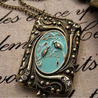Wholesale jewelry bijoux cheap bijoux necklace costume jewelry  , photo locket, locket pendant 12 pieces / lot  FREE shipping