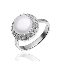 Free Shipping White Gold Plated Pearl Rings,Made With Rhinestone Rings,Wholesale Fashion Jewelry PLR007