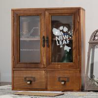 Wood finishing zakka retro vintage glass drawer storage cabinet aumbry