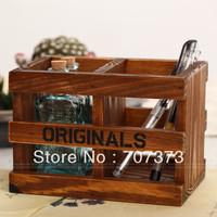 Zakka japanese style vintage retro finishing wood desktop storage box pen wooden box