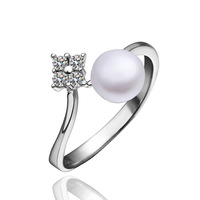 Platinum Plated Pearl Rings Made With Zircon Rings Wholesale Fashion Jewelry PLR009 Free Shipping