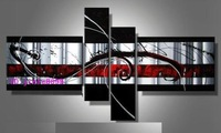 hand-painted The Beautiful Dark red line High Q. Home Decoration Modern Abstract Oil Painting on canvas 4pcs