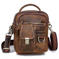 Cattle crazy horse leather man bag mini male genuine leather vintage handmade waist pack messenger bag shoulder bag small bag