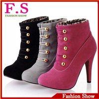 Fashion brand high heels ankle half boots 2013 sexy rivets platform red bottom women shoes pumps XB042 free ship big size 34-43