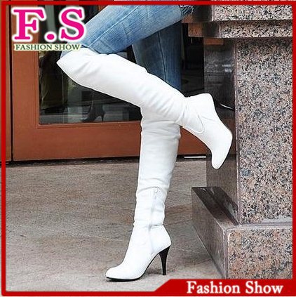 Big size 34-47 fashion high heels knee boots women shoes patent leather brand designer sexy boots XB044 free shipping(China (Mainland))