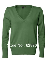 Free Shipping! Ladies' casual sweater,solid color ,100%Cotton, Anti-Pilling, Deep V-Neck,Slightly fitted