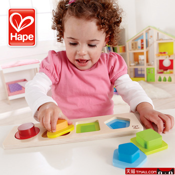 Hape toy geometry 1 - 2 years old puzzle wooden puzzle multi-colored classification
