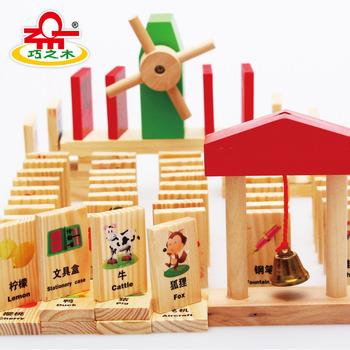 Wood domino wooden toys preschool building blocks