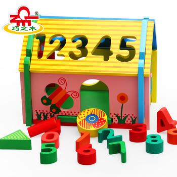 Wood digital shape combination wisdom house child wooden toys building blocks multifunctional combination