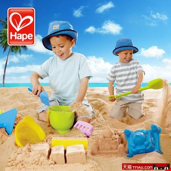 Hape beach toy set child extra large sand play water tool hourglass shovel hogshead