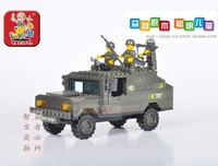 Lubanjiang small assembling building blocks child puzzle plastic insert toy - humvees