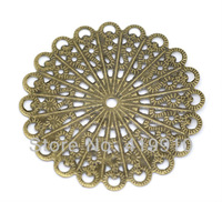 Free shipping-50Pcs Antique Bronze Filigree Flower Wraps Connectors Jewelry Findings 42x42mm M01054