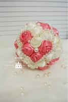 EMS Free Shipping Handmade Heart shape Silk Roses Bouquet High Quality Bride Holding Flower Pearl Bouquet Wedding essentials