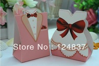 Bride and Groom Favor Boxes Pink Happy Wedding Party candy box  cow Chocolate boxes Classic style 50pcs/lot