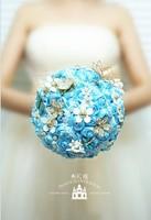 EMS Free Shipping Blue Little Daisy Artificial Flower Bouquet High Quality Beaded Brooch Pearl Bouquet Wedding Essentials