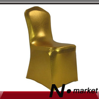 2013 New arrival golden silver lycra chair covers for weddings plain spandex chair cover hotel