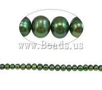 Free shipping!!!Baroque Cultured Freshwater Pearl Beads, Round, green, 8-9mm, Hole:Approx 1mm, Length:15.7Inch