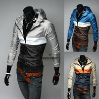 Free shipping2013 new arrived spring Leisure color design speed dry men's hooded spring thin jacket MF-247