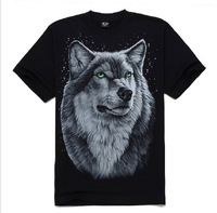 2013 t-shirt Men 3D wolf loose short sleeve o-neck t shirt top M/L/XL/XXL 100% cotton Freeshipping