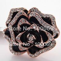 Min.order is $15 (mix order)Kavnar Brand 18K Rose Gold Plated Fashion Lovely Big Camellia Black Enamel Finger Ring R3043