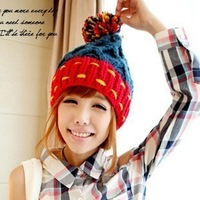 Color block all-match large sphere knitted hat winter thermal knitted hat female pocket