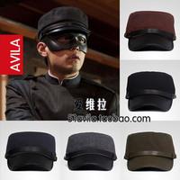 Autumn and winter spring cadet cap hat navy student hat vintage cap leather buckle captain hat