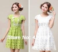 2014 good quality green cutout lace dress short-sleeve sweet princess, at stock, can send soon