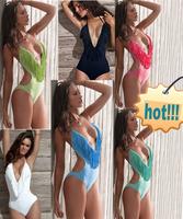 Topmelon fashion tassel deep V-neck sexy push up bikini one-piece swimsuit