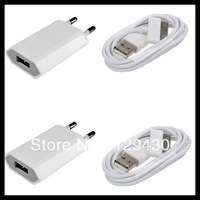 EU USB wall Charger + sync data Charge Cable for iphone 4 4s 3G 3GS dropshipping! !