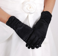 Satin gloves formal dress gloves wedding gloves bridal gloves hj515 short design black