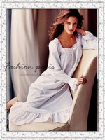 Victoria elegant 100% cotton ultra long princess nightgown sleepwear three-color