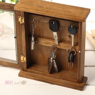 Wood wall decoration walls vintage key storage box key box zakka storage cabinet