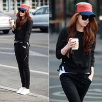2012 slim skinny pants sports sweatshirt set casual set female twinset