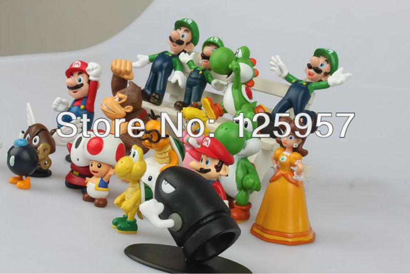 PVC Super Mario Bros yoshi Figure play dolls toys dinosaur android dinosaurand roid watchtoys (18 pcs set) style mixed(China (Mainland))