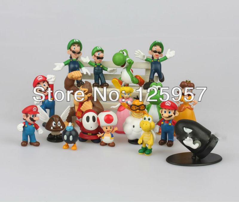 Arrival PVC Super Mario Bros yoshi Figure play dolls toys dinosaur android dinosaurand roid watchtoys (18 pcs set) style mixed(China (Mainland))