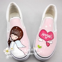 2013 low pedal canvas shoes hand-painted shoes women's shoes lovers shoes pink