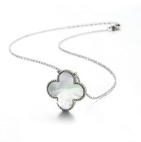 Elegant Clover Necklace,In Platinum Plated Metal and Mother Of Pearl Pendant,Finest Lucky Leaf Necklace For Women Daytime Wear