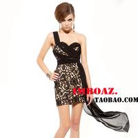 Imboaz 2013 sexy fashion lace patchwork thin chiffon sleeveless formal dress one-piece dress