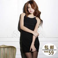 Evidenced imboaz sexy fashion slim hip o-neck big pearl sleeveless one-piece dress short design