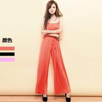 Fashion imboaz 2012 classic autumn adjustable shoulder strap ruffle collar high waist drawstring jumpsuit female