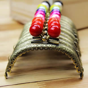 "Free Shipping! 10 pieces/lot 8.5cm/3.3"" Engraved Colorful Candy Bead Coin Purse Frames Antique Bronze 10 Color to Choose N1057"