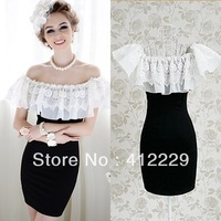 2013 pink doll black slim exclusive sleeveless lace patchwork elegant cape sheath sexy mini evening party summer ladies dress