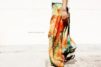 Color block splash-ink spring and summer lantern loose big crotch pants hanging crotch pants cotton silk yoga pants