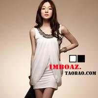 Imboaz sexy elegant rivet white chiffon bridesmaid dress married short design slim hip