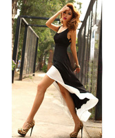 Promotion! 2014 Sexy Women Lady Deep U Neck Bare Back Backless Dress Hem Tank Swallow Tail Sleeveless Summer Long Dress