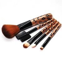 free shipping Leopard print paragraph brush beauty 5 piece set 882