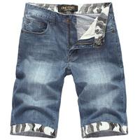 Summer male jeans sweep decorative pattern denim shorts male denim capris male shorts
