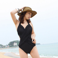 free shipping 2013 swimwear trigonometric one-piece swimsuit hot spring female black sexy swimwear