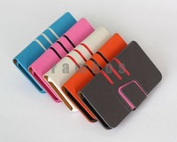 200pcs/lot Fashion Design Mobile Phone Slim Folio PU Leather Wallet Cell Phone Case for iphone 4 4s Free Shipping